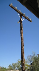 Original Telegraph Pole -- dry air means wood does not rot away