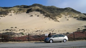 Nice shot of sand dune -- and Carl cleaning the windshield!