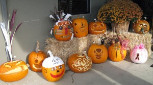 Pumpkins outside of Coffee shop -- which one would you vote for?
