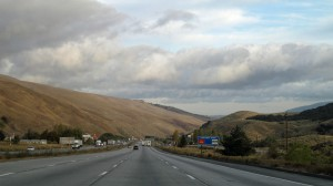 Driving over pass to reach the L.A. valley.