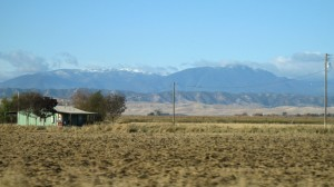 Snow on Mountain Caps -- Golden Californian fields